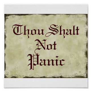 Thou Shalt Not Panic   Humor Parchment Poster