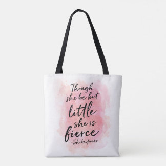 Though she be but little Pink everyday tote bag