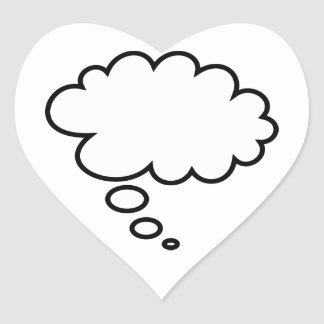 Thought Bubble - add your own text! Heart Sticker