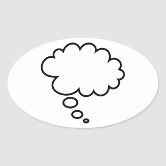 Thought Bubble - add your own text! Oval Sticker
