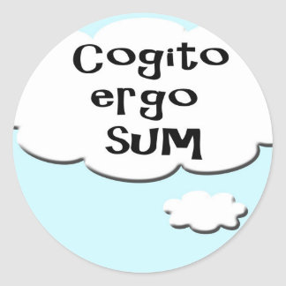 Thought bubble - Cogito ergo sum - I think there f Classic Round Sticker