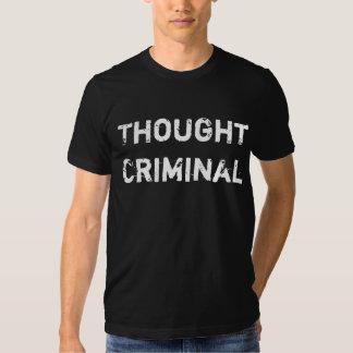 Thought Criminal T Shirt White on Dark