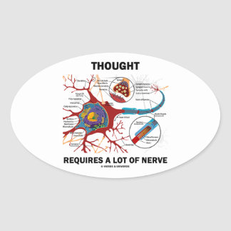 Thought Requires A Lot Of Nerve (Neuron / Synapse) Oval Sticker