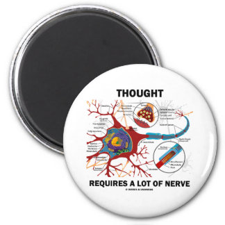 Thought Requires A Lot Of Nerve (Synapse) 2 Inch Round Magnet