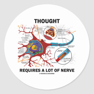 Thought Requires A Lot Of Nerve (Synapse) Classic Round Sticker