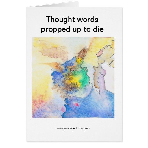 Thought words propped up to die cards