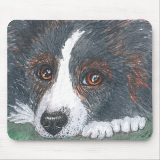 Thoughtful Border Collie Dog Mouse Pad