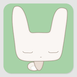 thoughtful bunny square sticker