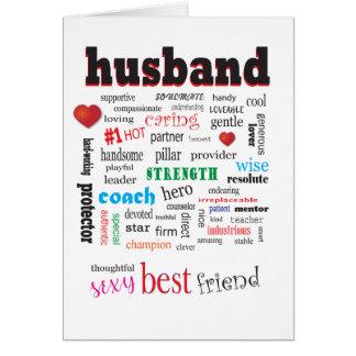 Thoughtful Caring Husband Word Cloud White Back Card