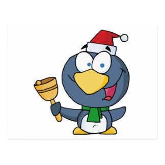 Thoughtful Christmas Penguin Bell Ringer Postcard