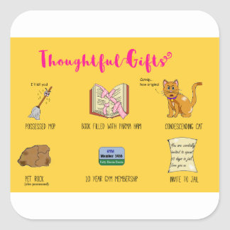 Thoughtful Gifts Funny Christmas Cartoon Square Sticker