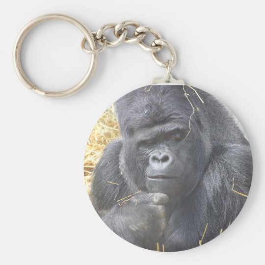 Thoughtful Gorilla Keychain