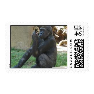 Thoughtful Gorilla Postage Stamps