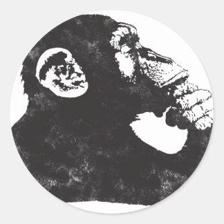 Thoughtful Monkey Classic Round Sticker