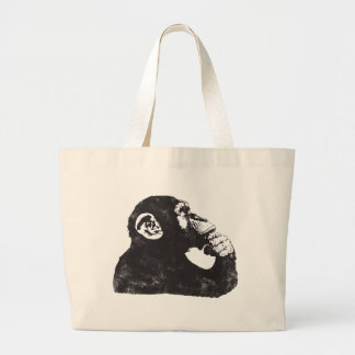 Thoughtful Monkey Large Tote Bag