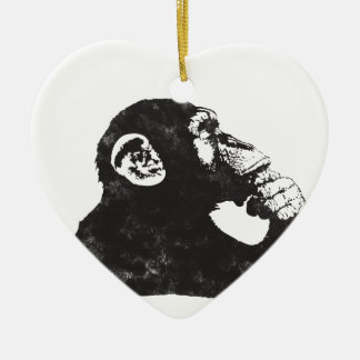 Thoughtful Monkey Double-Sided Heart Ceramic Christmas Ornament