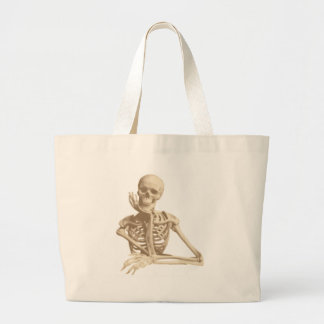 Thoughtful Skeleton Large Tote Bag