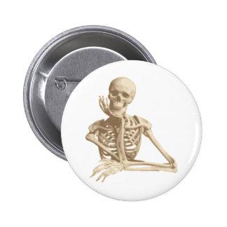Thoughtful Skeleton Pinback Button