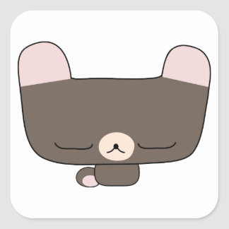 thoughtful teddy bear square sticker
