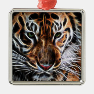 Thoughtful Tiger Metal Ornament