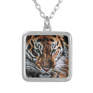 Thoughtful Tiger Silver Plated Necklace