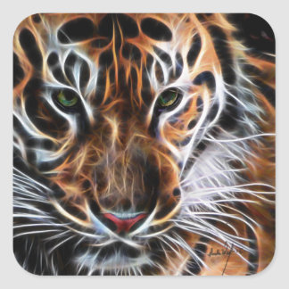 Thoughtful Tiger Square Sticker