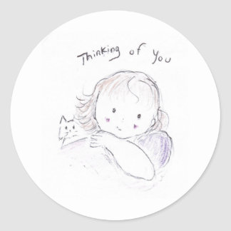 Thoughts of you classic round sticker
