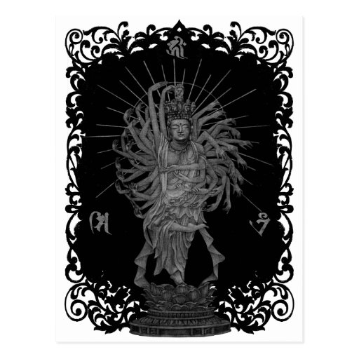 Thousand Armed Goddess of Mercy shie background at Postcard
