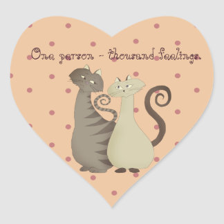 Thousand Feelings Romantic Cats Cartoon Girly Dots Heart Sticker