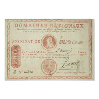 Thousand livre banknote with Louis XVI's Poster