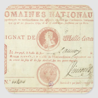 Thousand livre banknote with Louis XVI's Square Sticker