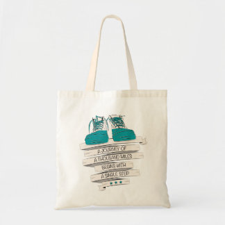 thousand miles begins with a single step budget tote bag