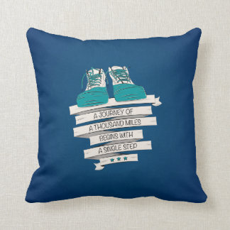 thousand miles begins with a single step throw pillow