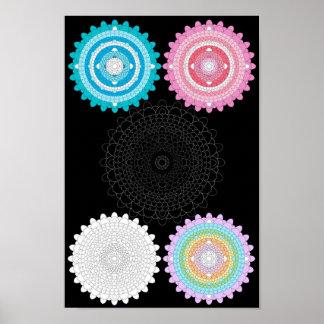 Thousand Petal Lotus Mandala Fiveplex Poster