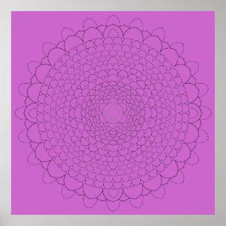 Thousand Petal Lotus Mandala on Violet 2 Poster