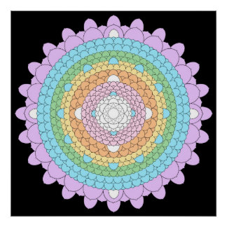 Thousand Petal Lotus Mandala Poster