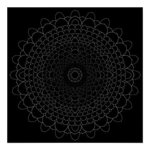 Thousand Petal Lotus Mandala Poster