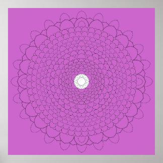 Thousand Petal Lotus on Violet Poster