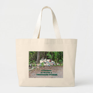 """""""Thousand Word"""" picture of the results of litter. Jumbo Tote Bag"""