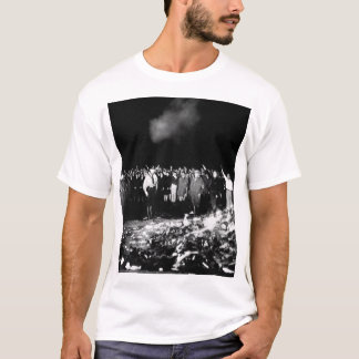 Thousands of books smoulder in a_War image T-Shirt
