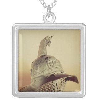 Thracian gladiator's helmet square pendant necklace