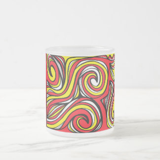 Thrailkill Abstract Expression Yellow Red 10 Oz Frosted Glass Coffee Mug