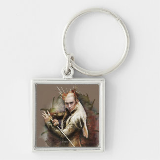 Thranduil With Sword Silver-Colored Square Keychain