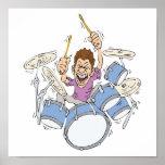 thrashing drummer print