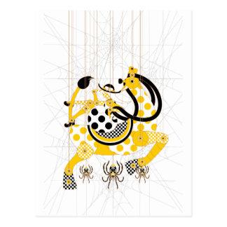 Thread marionetsuto wooden giraffe and girl of postcard