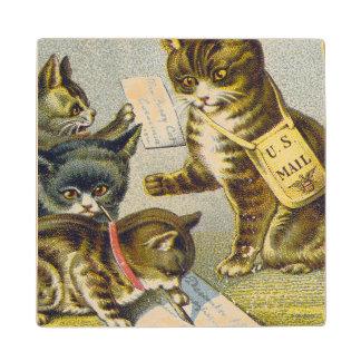 Thread Trade Card, 1880 Wooden Coaster