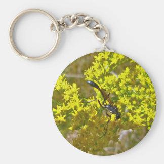 Thread-Waist Wasp on Goldenrod Items Basic Round Button Keychain