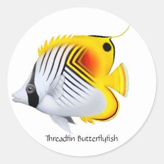 Threadfin Auriga Butterfly Fish Customizable Stick Classic Round Sticker