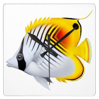 Threadfin Auriga Butterfly Fish Wall Clock