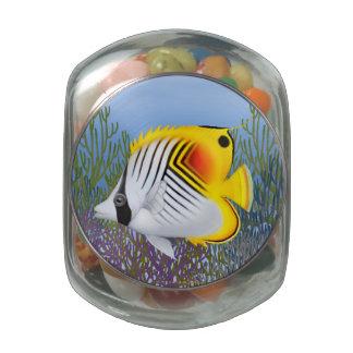Threadfin Auriga Butterflyfish Candy Jar Glass Candy Jar